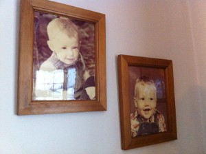 Childhood photos of Mat & Jason on the wall of the Crichton family home.