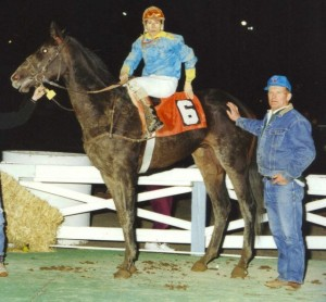 A picture of Holly and Sandy at the racetrack in 1994.